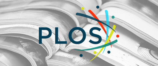 PLOS logo superimposed on a background of magazines
